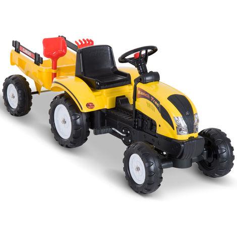 Tracteur à pédales Ranch Trac avec remorque pelle et rateau jeu de plein air enfants 3 à 6 ans jaune noir