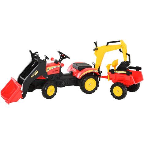 Tracteur à pédales tractopelle double avec remorque pelle et rateau jeu de plein air enfants 3 à 6 ans rouge noir
