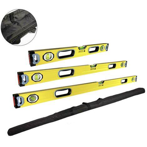 Trade Pro Magnetic Spirit Level Set 600mm 1000mm 1200mm 2ft 4ft + Storage Bag