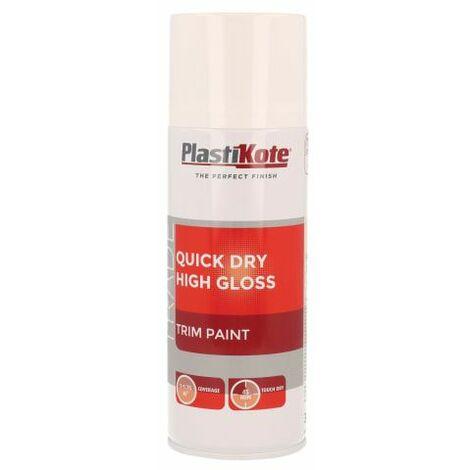 Trade Quick Dry Trim Spray Paint High Gloss White 400ml PKT71007