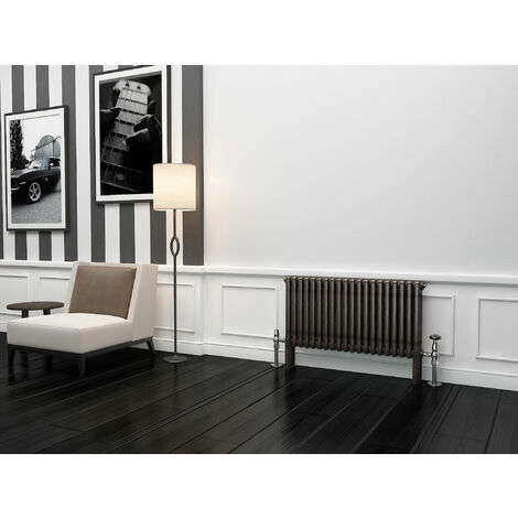 TradeRad Premium Raw Metal Lacquer Horizontal 3 Column Radiator 500mm x 834mm