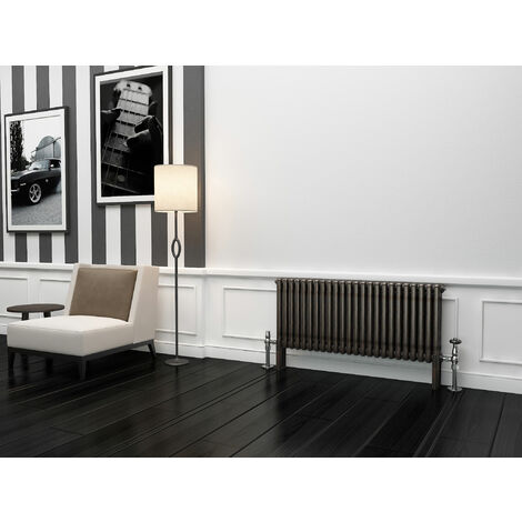 TradeRad Premium Raw Metal Lacquer Horizontal 3 Column Radiator 600mm x 1194mm