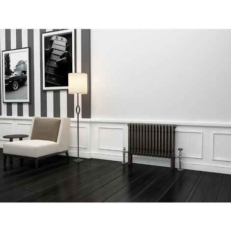 TradeRad Premium Raw Metal Lacquer Horizontal 3 Column Radiator 600mm x 609mm