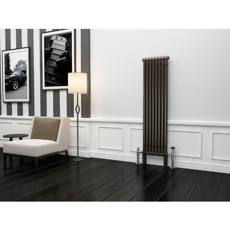 TradeRad Premium Raw Metal Lacquer Vertical 2 Column Radiator 1500mm x 384mm