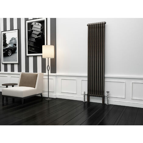 TradeRad Premium Raw Metal Lacquer Vertical 2 Column Radiator 1800mm x 339mm