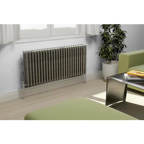 TradeRad Value Raw Metal Horizontal 3 Column Radiator 600mm x 444mm Central Heating