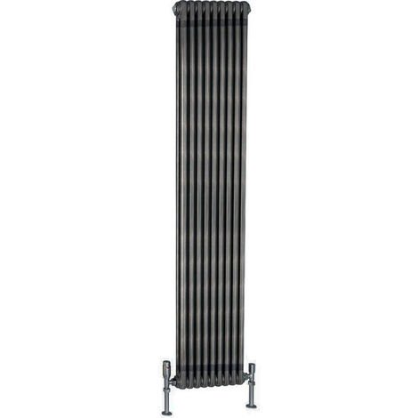 TradeRad Value Steel Raw Metal Vertical 2 Column Radiator 2000mm x 490mm Central Heating