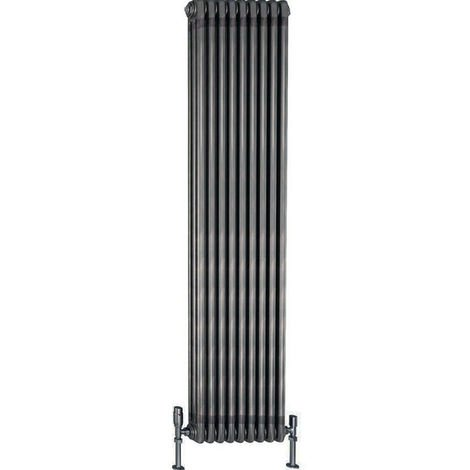 TradeRad Value Steel Raw Metal Vertical 3 Column Radiator 2000mm x 490mm Central Heating