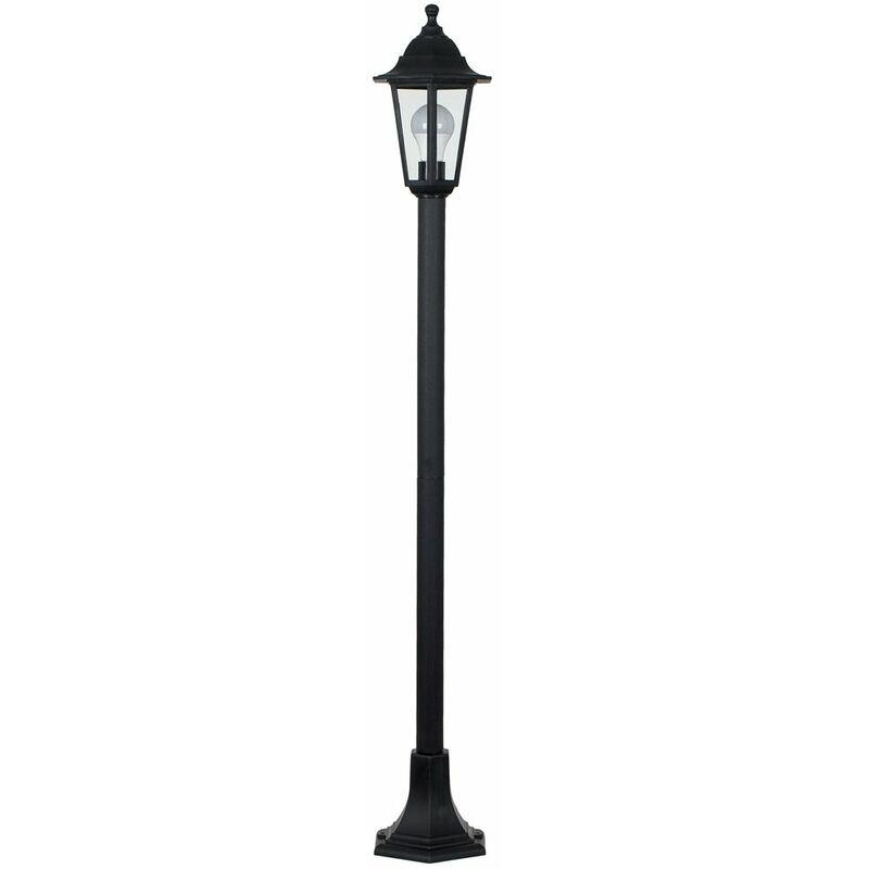 Image of 1.2M Black Ip44 Outdoor Lamp Post Bollard Light + 6W LED Es E27 Warm White Bulb