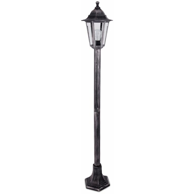 Image of 1.2M Black & Silver Outdoor Lamp Post Bollard & Top Light Ip44 Rated 15W LED Gls Bulb - Cool White