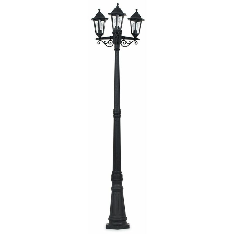 Image of 1.95M Black 3 Way Ip44 Outdoor Lamp Post Light + 3 x 4W LED Candle Bulbs