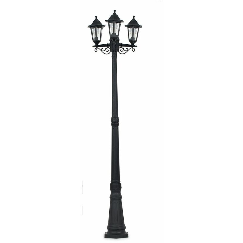 Image of 1.95M Black 3 Way IP44 Outdoor Lamp Post Light - LED Bulb