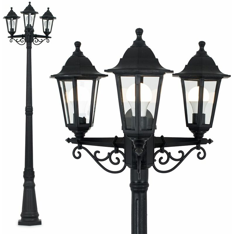 Image of 1.95M Black 3 Way IP44 Outdoor Lamp Post Light - No Bulb