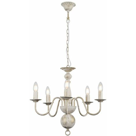 Traditional 5 Way Flemish Ceiling Light Chandelier Fitting In A Distressed Finish + 4W LED Filament Candle Bulbs -