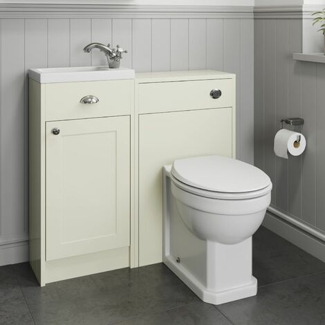 Traditional 950mm Bathroom Toilet Basin Vanity Unit Combined Ivory