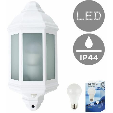 Traditional Aluminium & Frosted Glass Panel Outdoor Garden Wall Mounted Lantern IP44 Light with PIR Motion Sensor + 10W LED GLS Bulb