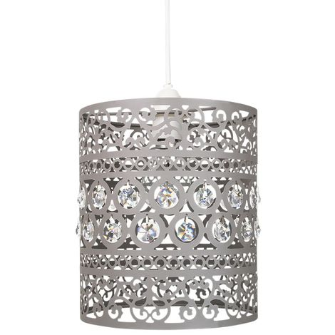 """main image of """"Traditional and Ornate Grey Easy Fit Pendant Shade with Clear Acrylic Droplets by Happy Homewares"""""""