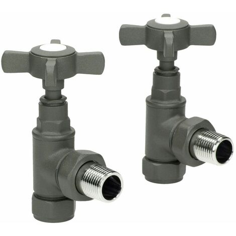 Traditional Angled Heated Towel Rail Radiator Valves Standard Pair Anthracite
