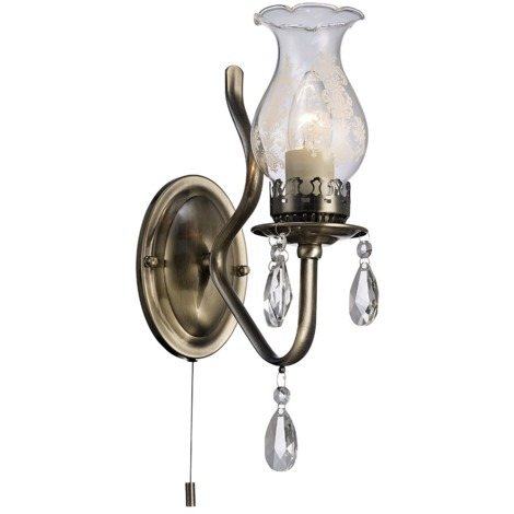 Traditional Antique Brass Wall Light with Pull Switch and Floral Glass Shade by Happy Homewares