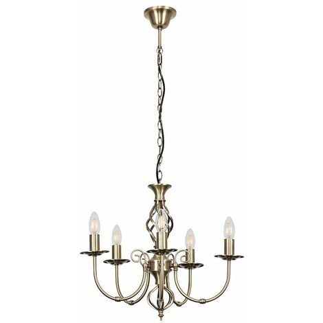 Traditional Barley Twist 5 Way Ceiling Light Chandelier + 5 x 4w SES E14 LED Bulb