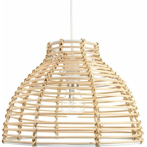 Traditional Basket Style Light Brown Rattan Wicker Ceiling Pendant Light Shade by Happy Homewares
