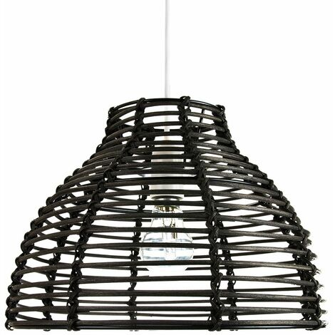 Traditional Basket Style Vintage Black Rattan Wicker Ceiling Pendant Light Shade by Happy Homewares