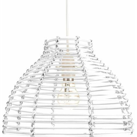 Traditional Basket Style White Rattan Wicker Ceiling Pendant Lighting Shade by Happy Homewares