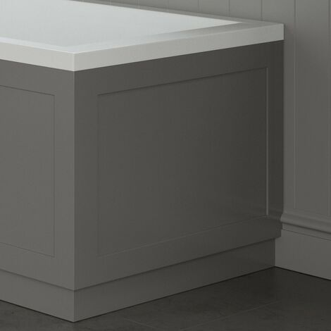 Traditional Bathroom 750mm End Bath Panel 18mm MDF Wood Grey Plinth Easy Cut