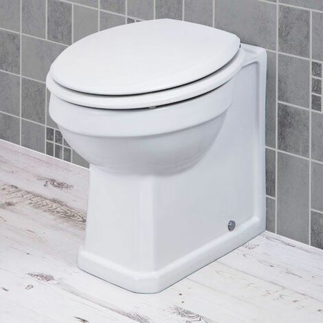 Traditional Bathroom Back to Wall Toilet WC BTW Pan & Seat Ceramic Gloss White