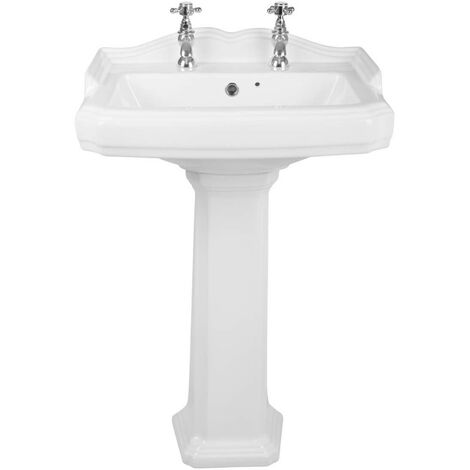 Traditional Bathroom Cloakroom Full Pedestal 595mm Basin Compact Double Tap Hole Sink