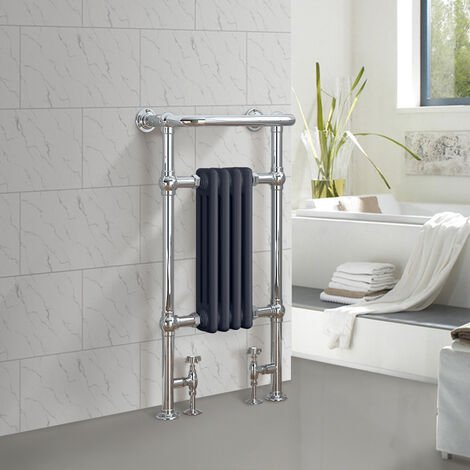 Traditional Bathroom Heated Towel Rail Column Radiator Cast Iron Rad Anthracite & Chrome 952x479 mm