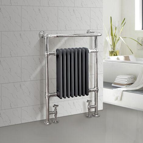 "main image of ""Traditional Bathroom Heated Towel Rail Column Radiator Cast Iron Rad Anthracite & Chrome 952x659 mm"""