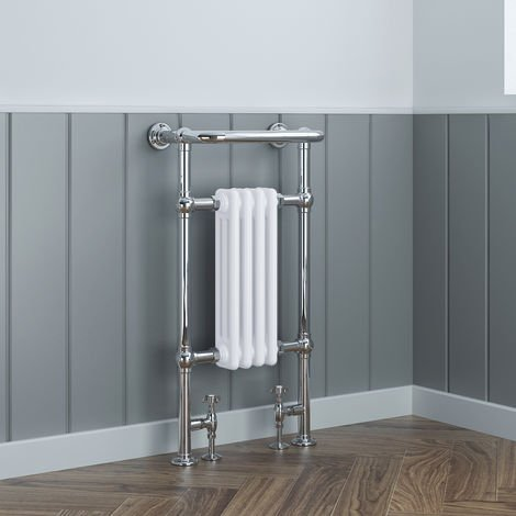 Traditional Bathroom Heated Towel Rail Column Victorian Radiator White & Chrome