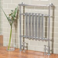 Traditional Bathroom Heated Towel Rail Column Victorian Radiator White & Chrome