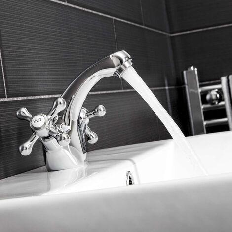 Traditional Bathroom Mono Basin Sink Mixer Tap Brass Cross Head