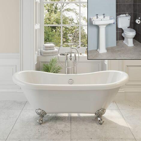 Traditional Bathroom Suite Double Ended Bath Ball Feet Pedestal Basin & Toilet