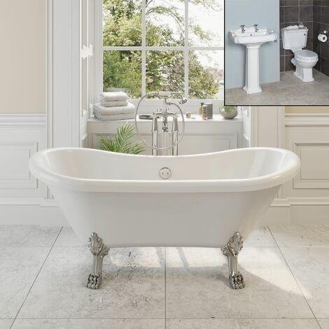 Traditional Bathroom Suite Double Ended Bath Dragon Feet Pedestal Basin & Toilet