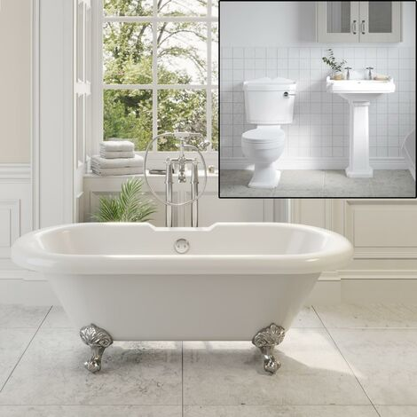 Traditional Bathroom Suite Freestanding Bath Ball Feet Pedestal Basin & Toilet