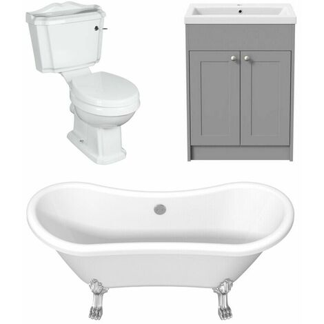 Traditional Bathroom Suite Freestanding Double End Curved Bath Grey Vanity Unit