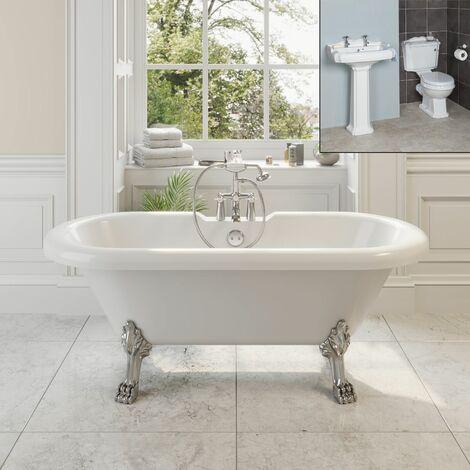 Traditional Bathroom Suite Freestanding Roll Top Bath Pedestal Basin & Toilet