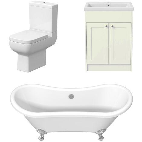 Traditional Bathroom Suite Three Piece Toilet Freestanding Roll Top Bath Vanity