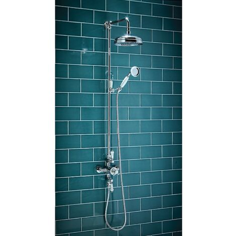 Traditional Bathroom Thermostatic Shower Exposed Valve Twin Head Round Chrome
