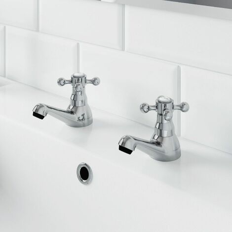 Traditional Bathroom Twin Basin Sink Taps 2 Tap Hole Brass Cross Head
