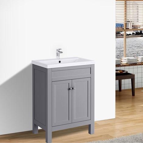 Traditional Bathroom Vanity Sink Unit Cabinet Basin Floor Standing Storage Furniture 600mm Grey