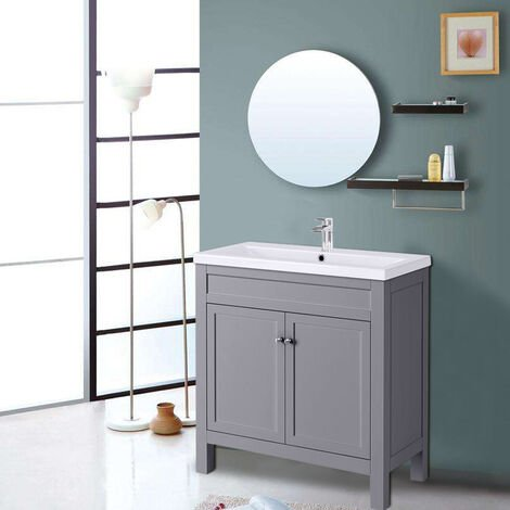 Traditional Bathroom Vanity Sink Unit Cabinet Basin Floor Standing Storage Furniture 800mm Grey