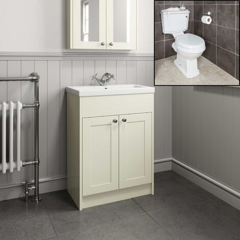 Traditional Bathroom Vanity Unit Sink Basin Close Coupled Round Toilet Ivory