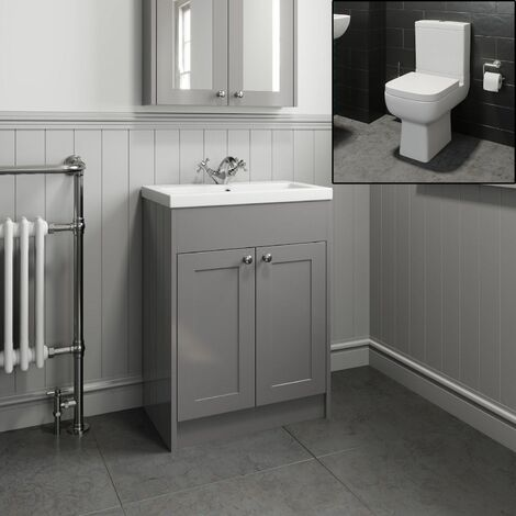 Traditional Bathroom Vanity Unit Sink Basin Close Coupled Square Toilet Grey