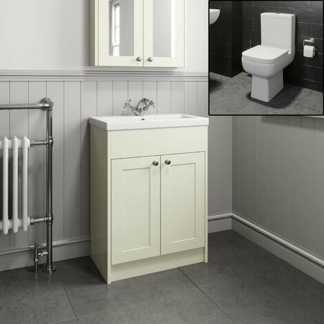 Traditional Bathroom Vanity Unit Sink Basin Close Coupled Square Toilet Ivory