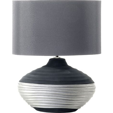 Traditional Bedside Lamp Grey Drum Shade Round Porcelain Base Lima