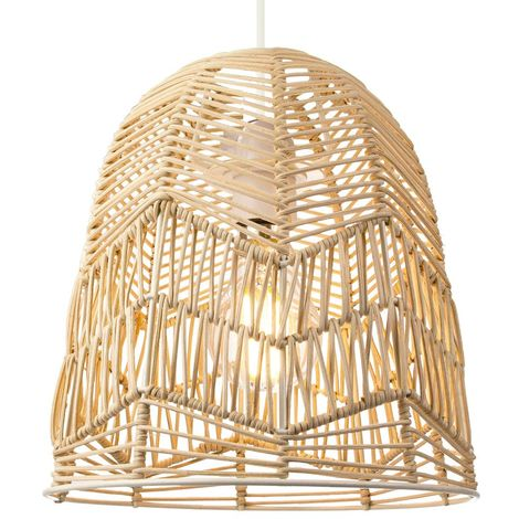 """main image of """"Traditional Bell Shaped Light Brown Rattan Wicker Ceiling Pendant Light Shade by Happy Homewares"""""""